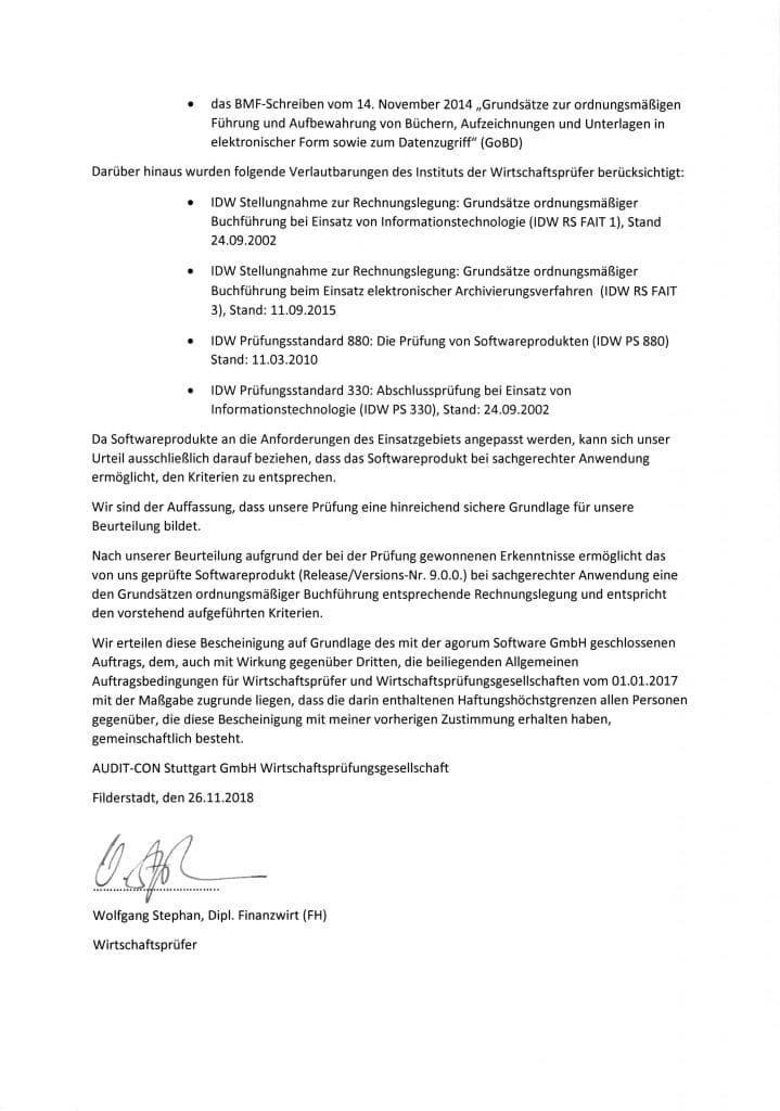Zertifikat Revisionssicherheit nach GoBD Wirtschaftsprüfung Seite 2