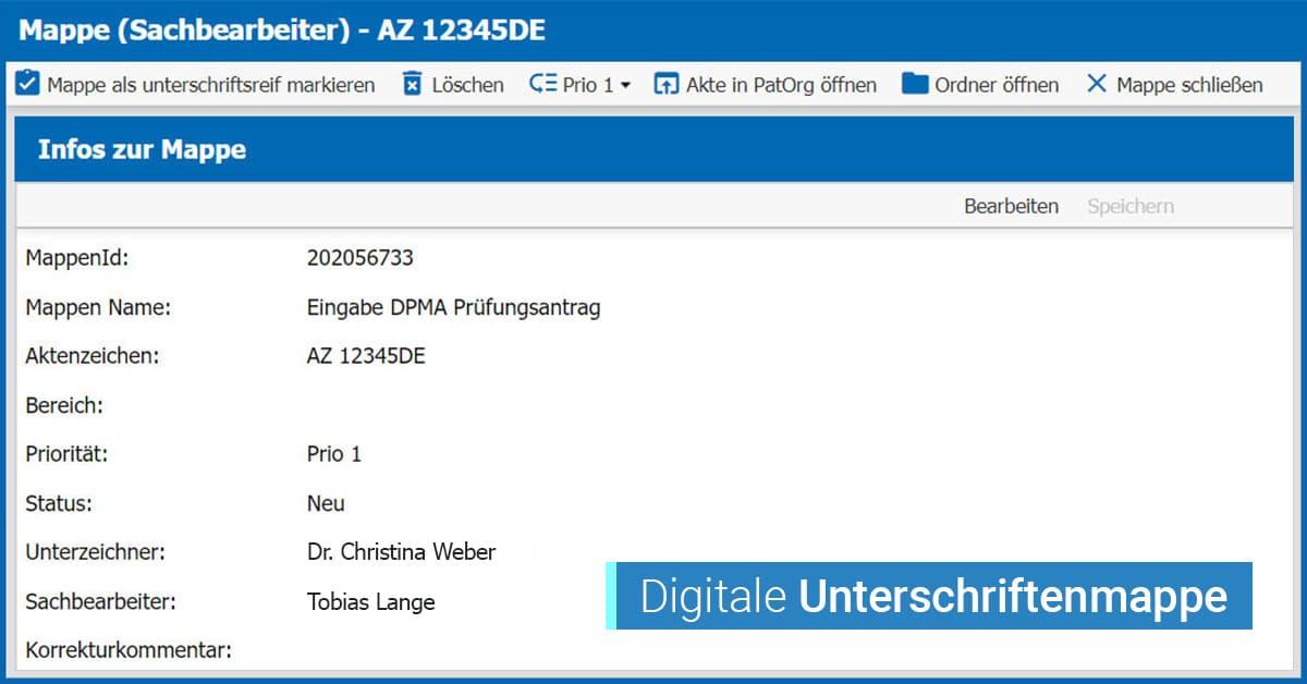 Digitale Unterschriftenmappe zur Integration in PatOrg