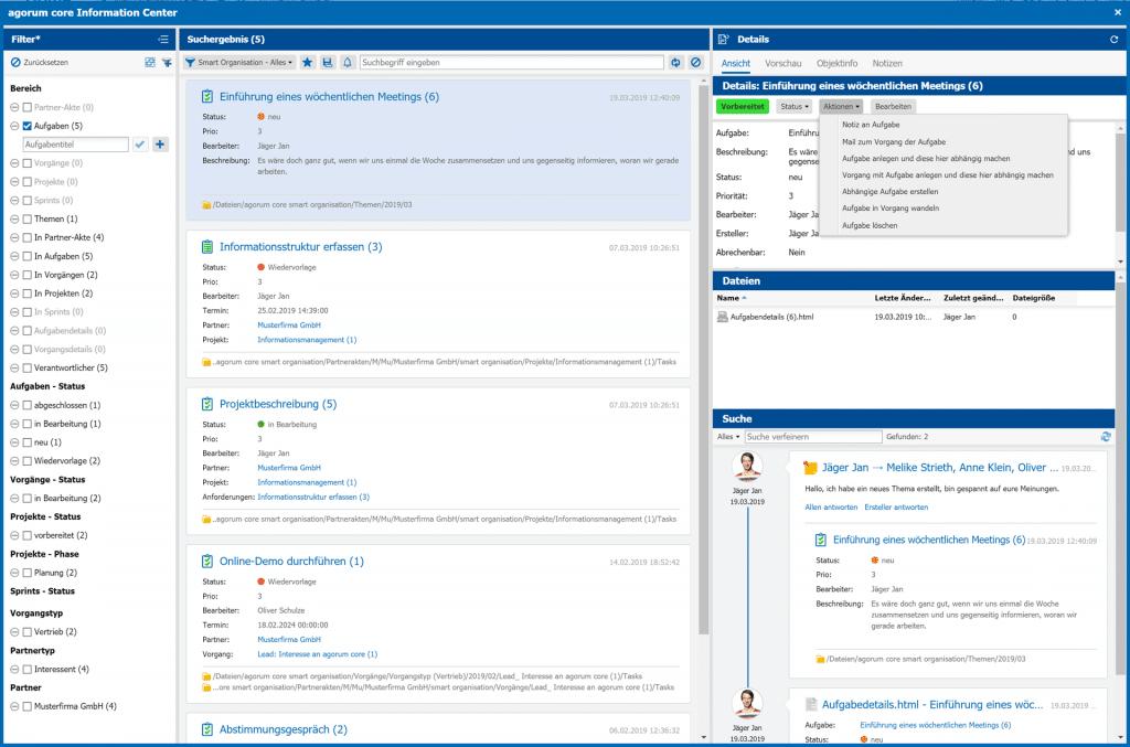 Detailansicht information center Dateien Aufgaben Dokumente Notizen direkt bearbeiten