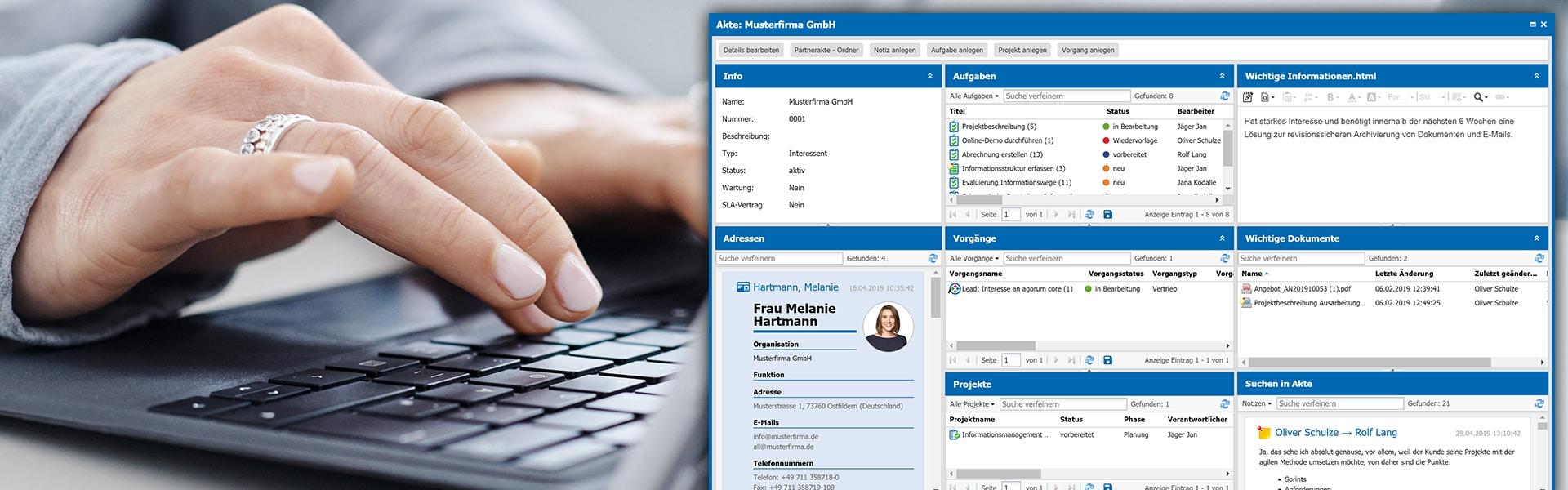 agorum core Kundenmanagement Ueberblick Kontaktdaten Projekte Ansprechpartner Aufgaben