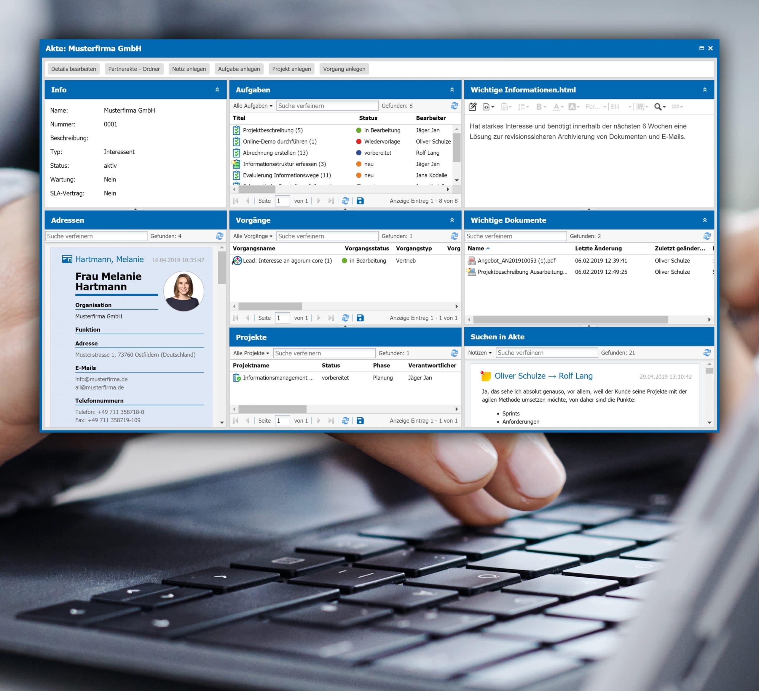 agorum core dynamische Kundenakte Ansprechpartner Projekte Aufgaben auf einen Blick