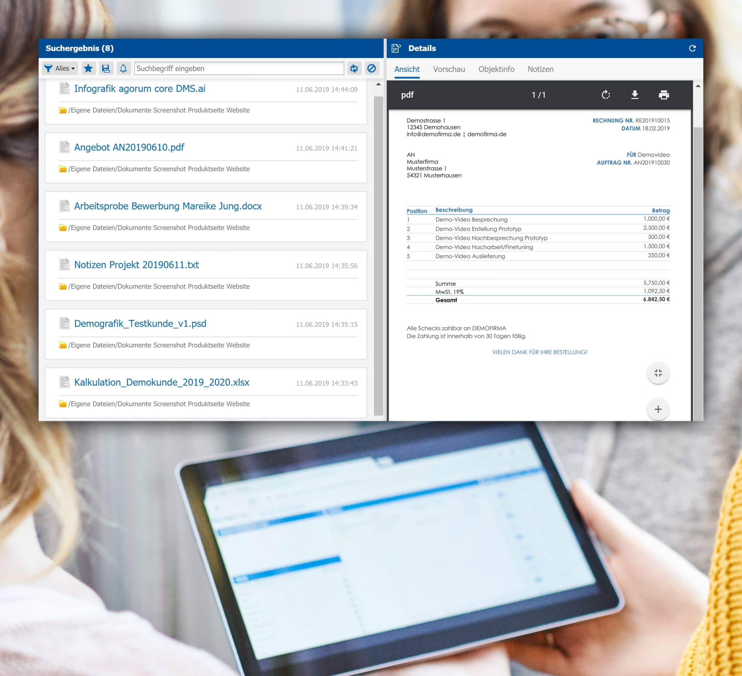 agorum core Dokumente schnell finden auf Knopfdruck Dokumentenmanagement mobil