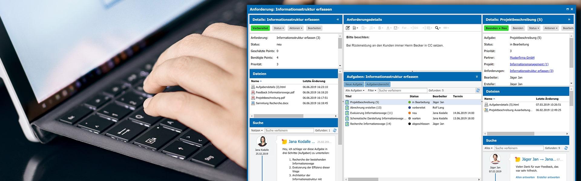 agorum core Projektmanagement dynamisches Dashboard alle Informationen auf einen Blick
