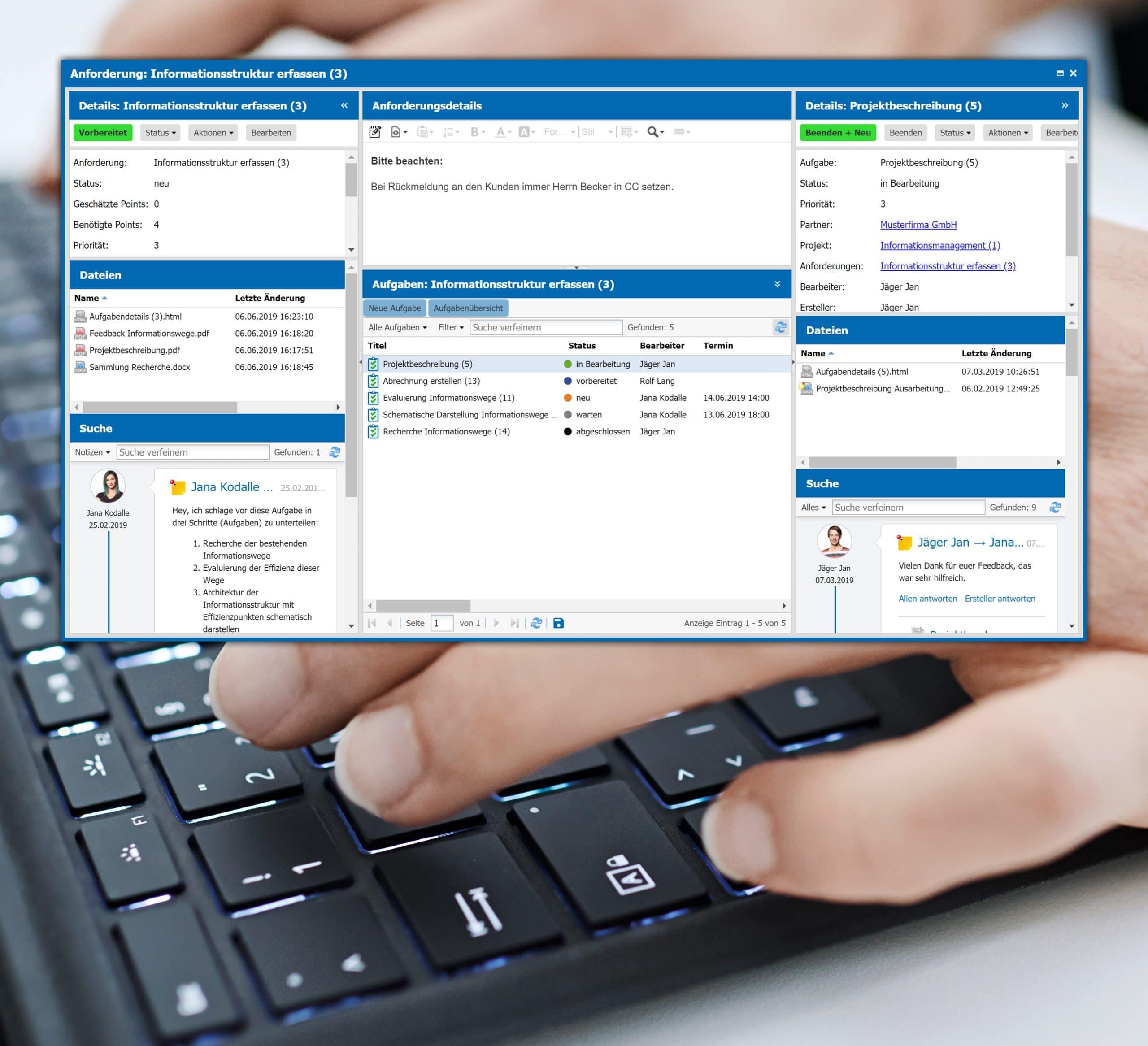 agorum core Projektmanagement dynamisches Dashboard alle Informationen auf einen Blick mobil